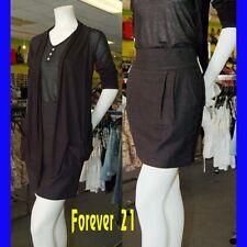New & Cute FOREVER 21 Women's Linen Black Gathered Skirt w/2Pockets Size Medium