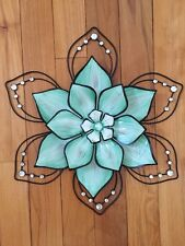 Jeweled Green Flower Wall Art Petals Acrylic Gems Bright 3D Floral Wall Hanging