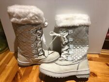 Baby Phat Squirt Boot Woman Shoes Lace Up Canvas Snow Winter White 7 #1933