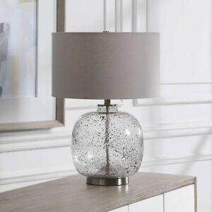 "STORM MODERN COASTAL BEACH ART GLASS 24"" TABLE LAMP UTTERMOST 28389"