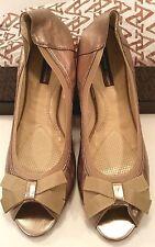 Adrienne Vittadini Kaleb Champagne Gold Leather Ballet Flat Shoes Womens 11M NIB