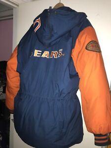 VTG 80's 90's Triple Fat Goose NFL Chicago Bears Puffer Hoodie Big Logo Jacket