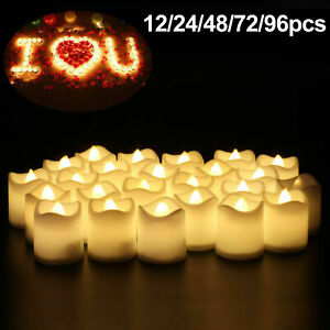 24-96pc LED Flameless Tea Light Tealight Candle Wedding Decor Battery Include AU