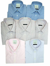 NEW ex-MARK and SPENCER SHORT SLEEVE SHIRTS -COLLAR SIZE 15.5 -18.5 IN 4 COLOURS