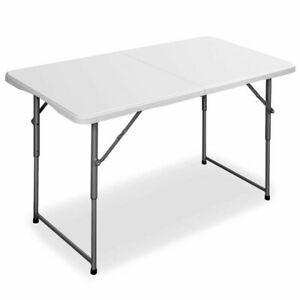 Portable Folding Table, White Plastic Indoor Outdoor Camp Picnic Party Dining