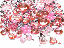 CandyCabsUK 50g Mixed Flatback & 3D Gems Rhinestones Jewels B Pink Mix DIY Kit