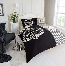 The Real Boss Duvet Quilt Cover Pillowcases King Bedding Bed Set Cream Black
