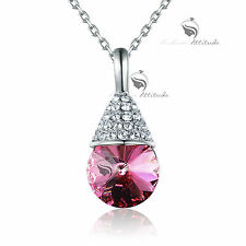 18k white gold gf made with pink SWAROVSKI crystal pendant necklace sparkling