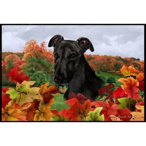 Greyhound Fall Leaves Floor Mat