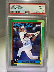 SAMMY SOSA 1990 Topps Rookie Card RC #692 PSA 9 Mint Cubs