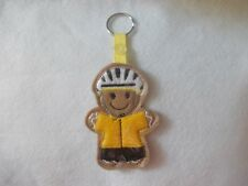 Gingerbread 'Cyclist/Yellow' Keyring/Bag Charm.  Embroidered Appliqué -Handmade