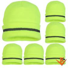 QTY: 6 Safety Beanie - Hi-Viz Lime Knit Winter Cap - FREE SHIPPING