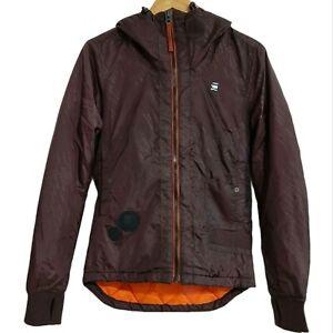 Mens G-STAR RAW Hooded Jacket Coat Size Small Burgundy Orange 100% Authentic