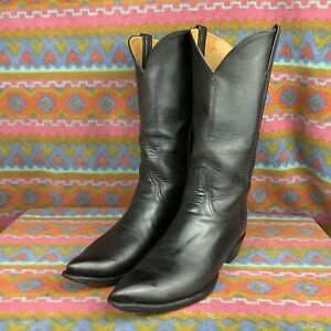 LUCCHESE CLASSICS Handmade Black Pointed Toe Leather Cowboy Western Boot 9 D
