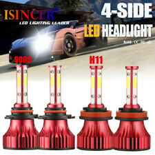4-Sides Combo 9005+H11 LED Headlight Bulb High Low Beam Kit 6000K White 280000LM