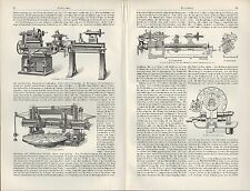 Lithografie 1905: Drehbank. Eisen Schrauben-Zentrier-Futter Leit-Spindel-Support