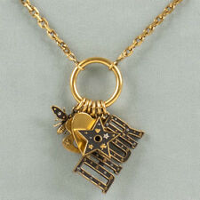 NWT CHRISTIAN DIOR Multi Charms Antique Gold 'Dior' Strass Long Necklace
