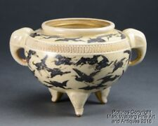 Japanese Satsuma Porcelain Koro / Tripod Censer, Silver Cranes, 19th Century