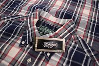 Gitman Bros. Vintage NWT Button Front Shirt Size L In Navy, White & Red Plaid