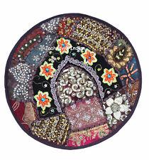 "ZARI WORK 16X16"" CUSHION COVER ETHNIC HOME DECOR ART INDIAN HANDMADE ROUND"