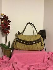Etienne Aigner Beige Nylon with Brown Leather Trim Handbag