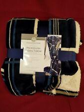 "Microplush Sherpa Throw Huntington Home Blanket 50"" x 60"" Blue Plaid Reversible"
