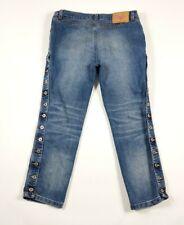 """NUOVO con Etichetta M/&S Collezione Dark Blue Mid Rise Crop Flare jeans 14 Reg gamba 24/"""""""