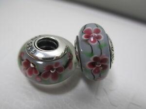2 Pandora Silver 925 Ale Murano Bead Charm Plum Garden Flower Grey Rose Red