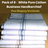9 White Mens Business Handkerchiefs100% Pure Cotton Hankies Large 45x45CM Hanky