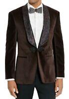 Tallia Men Blazer Brown Size 2XL One-Button Velvet Jacquard-Lapel $350 #186