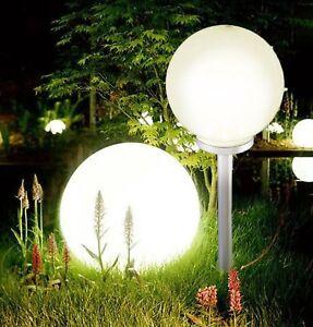 Jumbo Giant LED Solar Garden Mood Ball Sphere Globe Stake Light White
