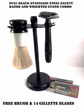 STAINLESS STEEL BLACK SAFETY RAZOR STAND COMBO FREE SHAVING BRUSH 14 BLADES SET