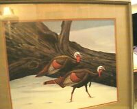 Vintage Don R. Eckelberry 1975 The Wild Turkey Signed Art Print Frame & 2 Matte