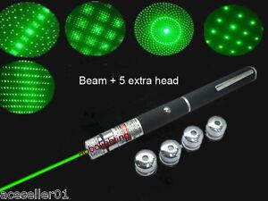 Green 5-in-1 Laser Pointer pen 5mW 532nm Powerful Beam Lazer+5 patterns head DJ