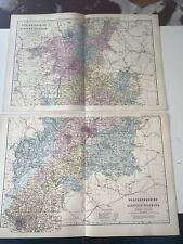 c1889 Worcestershire Gloucestershire British Isles Map Bacon Antique Vgc Double