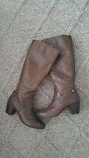 Geox Italian Pattern Brown Leather Knee High Boots Size EU 41