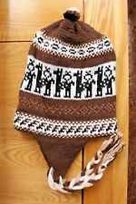 BROWN South American WOOLLEN HAT - CHULLOS WOOL Llama design