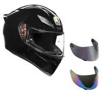 casco moto agv k1 nero lucido + visiera specchio+ visiera fume'+ trasparente