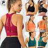 Womens Yoga Sports Seamless Running Bra Crop Top Vest Comfort Stretch Padded AM