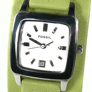 FOSSIL women's watch Model JR8298 Stainless steel Silver rect. dial Leather Date