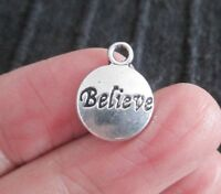 BULK Pack of 100 Antique Silver BELIEVE Pendant Charms 15mm x 12mm Wish
