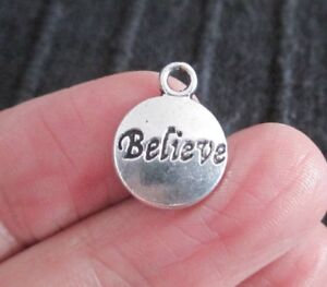Pack of 20 Antique Silver BELIEVE Pendant Charms 15mm x 12mm Christmas