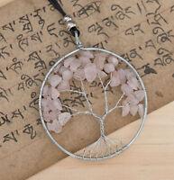 Collar Colgante Árbol de la Vida Ø75mm Piedras Chakra Natural Cuarzo Rosa Gn 612