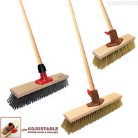 Metal Wire Broom Brush Sweeping Deck Scrub + HANDLE Heavy Duty Garden Cleaner