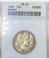 """Colorful 1916 Barber 25c Old ANACS MS61 """"Autumn's Leaves"""" Toned Silver Quarter"""