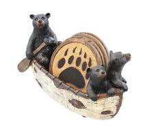 3 Black Bears Canoeing Coaster Set - 4 Coasters Rustic Cabin Canoe Cub Decor by