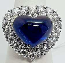 Sapphire & Diamond Heart Ring - r9343