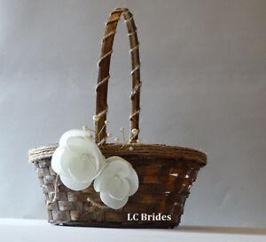 Rustic Flower Girl Basket, Flower Girl Basket, Rustic Wedding, Wedding, Ivory