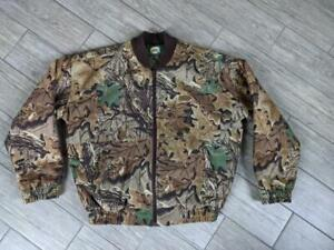 vintage CABELAS insulated CAMOUFLAGE hunting jacket L bomber AVANTAGE chamois