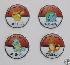 12 PRE CUT PERSONALISED POKEMON EDIBLE RICE WAFER CARD BIRTHDAY CUPCAKE TOPPERS
